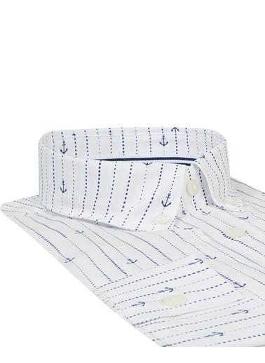 Tween Slim Fit Çizgili Gömlek Beyaz